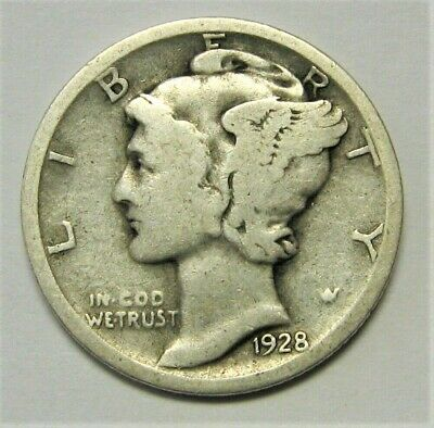 1928 S Mercury Dime circulated 90% Silver  Good to Very Good