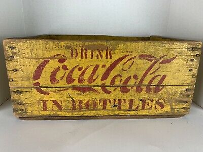 "Vintage 1940s-1950s ""Drink Coca-Cola in Bottles"" Wood Crate - 24 Bottles Yellow"