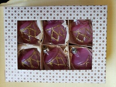 Small Glass Drum Shaped Ornaments Set of 6 in Box