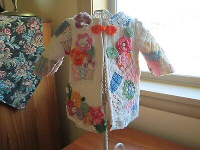 Doll Coat made from a  vintage hand sewn cutter quilt with crocheted  flowers