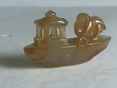 Vintage CHINESE Finely Carved Agate Stone MAN ON BOAT NET FISHING Sculpture