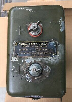 WWI Signal Corps Airplane Edison Storage Battery B.B.-4 - dated Feb 27,1918