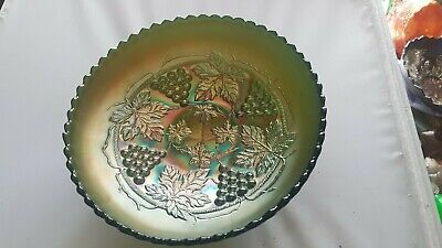 "Antique Green Carnival Ice Cream  Bowl By Northwood ""Grape & Cable"" Pattern"