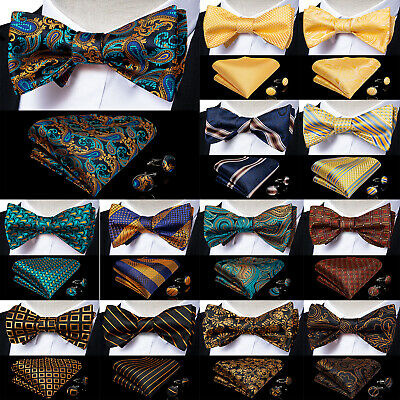 Mens Silk Paisley Floral Plaids Striped Bowtie Self Bow Tie Hanky Cufflinks Set