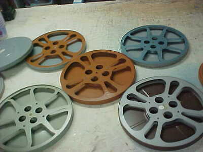 Five 16 MM Metal 1200 Foot Movie Film Reels in Metal Cans