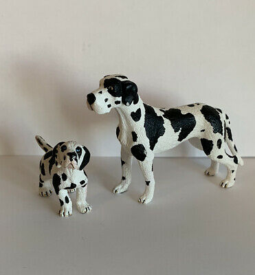 Schleich Retired Female Great Dane Dog And Puppy Figure