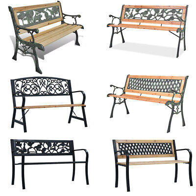 Garden Bench 2/3 Seater Steel Wooden Lounge Chairs Seat Patio Seating Furniture