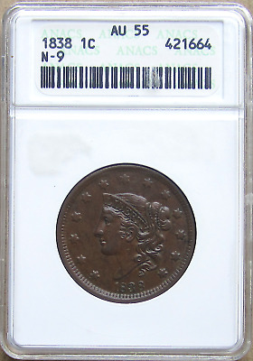 1838 Large Cent N-9, Pleasing Chocolate Color, EAC, Old ANACS White Holder, AU55