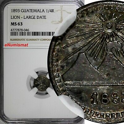 Guatemala Silver 1893 1/4 Real NGC MS63 LION LARGE DATE NICE TONED KM# 159