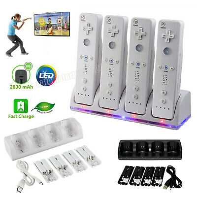 4 PCS Rechargeable Batteries + Charger Dock Station For Wii Remote Controller
