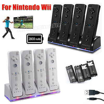 4 X Rechargeable Battery Pack + Wii Controller Charger Dock Station for Nintendo