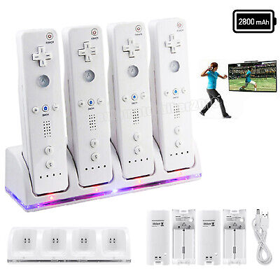 4 Packs Rechargeable Batteries + Charger Dock For Nintendo Wii Remote Controller