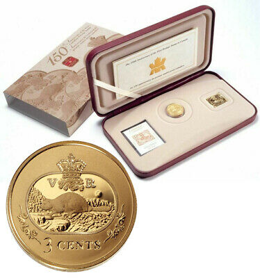 CANADA 3 Cents 2001 Silver Gold-Plated 'Beaver' Coin, Medal & Stamp set