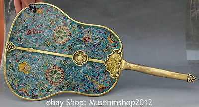 "17"" Chinese Dynasty Palace Cloisonne Enamel Gilt 8 Auspicious Handle Fan Statue"