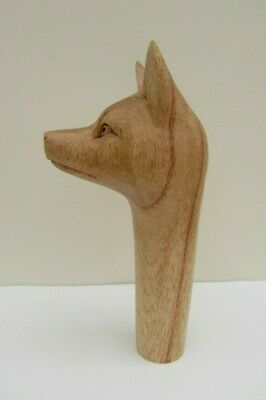 WOODEN CARVED  FOX HEAD  STICK Handle  for Walking stickmaking