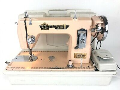 Vintage Atlas Deluxe Precision Pink Peach Sewing Machine Japan Made 50's & Case