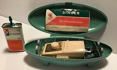 Vintage 1960 Singer Button Holer Attachment & Singer Oil Can - lot of 2