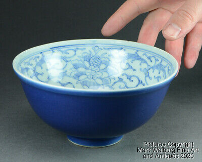 Chinese Dark Blue Glazed Porcelain Bowl, Floral Interior, Qing Dynasty