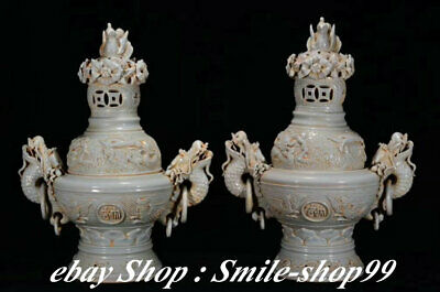 China White Porcelain Fengshui Dragon Phoenix Animal  Incense Burner Censer Pair
