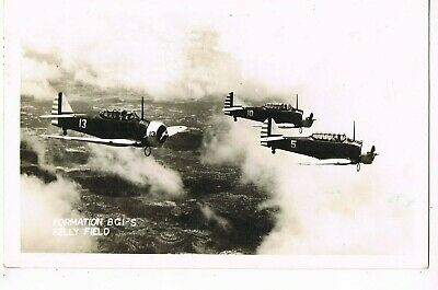 "REAL PHOTO MILITARY Postcard    ""FORMATION BCI-S, KELLY FIELD"""