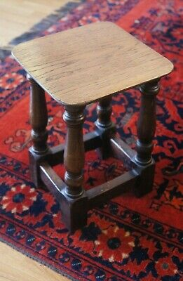 Super little antique / vintage solid oak stool / occasional table 35cm tall