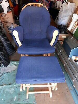 Hauke Recliner Rocking Nursing Chair & Foot Stool Blue Excellent condition