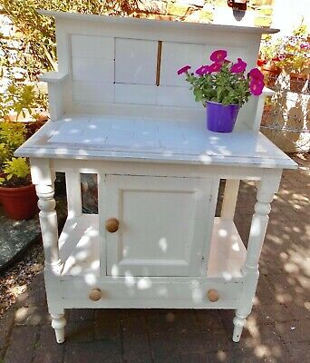 Rustic Chateau Chic Painted Pine Victorian Tiled Washstand~Pot Cupboard~Drawer