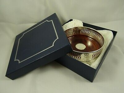 BOXED solid silver WINE BOTTLE COASTER, c2003