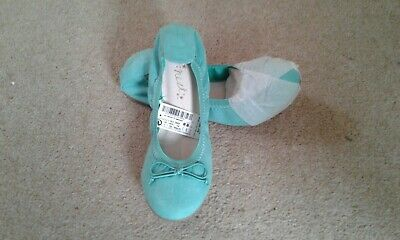 BNWT Girls Next green suede ballet pumps party Bridesmaid shoes size 1