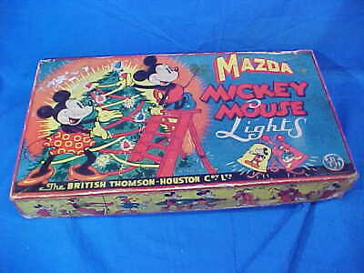 Never Used 1930s MICKEY MOUSE MAZDA Christmas LIGHTS w CARTOON LIGHT COVERS