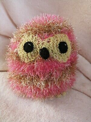 Jewel the  cute hand crafted knitted  pink and gold striped owl