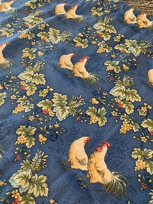 "Chicken Rooster Curtain Valance 60"" Blue Yellow Farmhouse"
