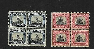 US Scott #620-#621 mint hinged center line blocks of 4 1925 Norse-American issue