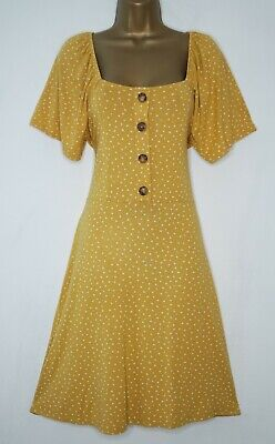 Next Yellow White Polka Dot Button Front Jersey Tea Dress Size 12 Skater Spot