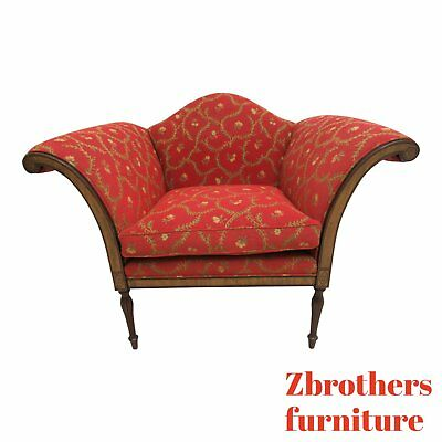 Rare Southwood Inlay Settee Lounge Living Room Flared Arm Chair