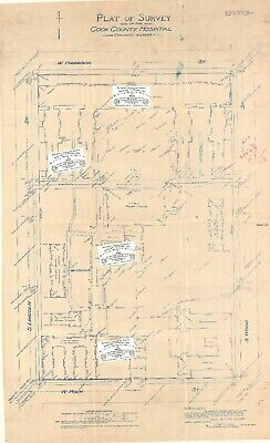 TOTALLY UNIQUE 1925 Plat Of The Cook County Hospital In Chicago, Illinois!