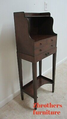 Antique English Inlaid Federal Mahogany Serving Table Pedestal Tall End Table
