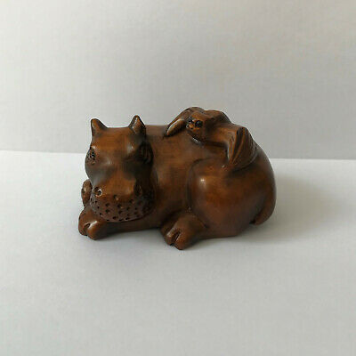 Hippo with bat on its back Beautiful boxwood netsuke Hand carved and signed