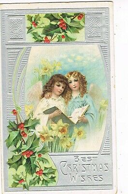 ANTIQUE EMBOSSED CHRISTMAS Postcard   ANGELS, ONE WITH ARM ON OTHER'S SHOULDER
