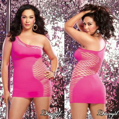 Sexy Plus Size Lingerie One Size Queen Neon Pink Chemise Dress DG9289X