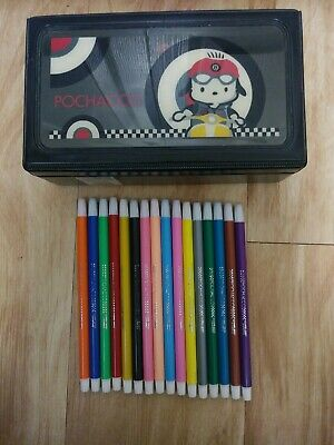 Vintage 2002 Sanrio Pochacco Pencil Box w/ 16 colored pencils