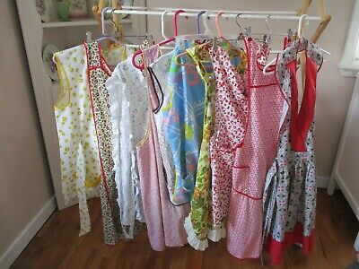 Lot of 10 Vintage Aprons Bib Cobbler Pinafore