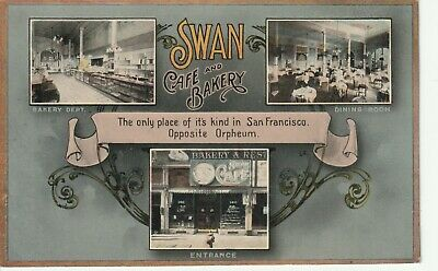 Vintage circa 1915 Swan Cafe and Bakery, San Francisco Postcard