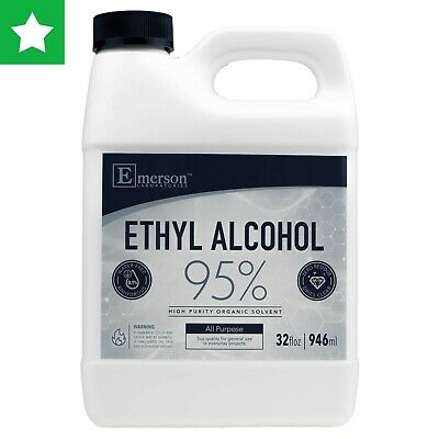 Ethyl Rubbing Alcohol 95% For All Purpose Sanitizing/Cleaning - 32oz (Pack of 1)