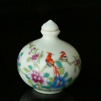 Chinese Beautifully Handmade Porcelain Draw Flowers and Birds Snuff Bottle