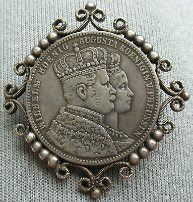 1861 German Prussia  Thaler - The Coin Is In Brosh / Pin Silver Ornament