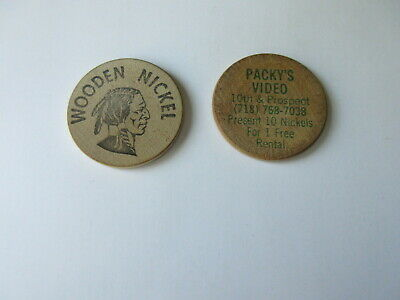 lot of 2 WOODEN NICKELS Packy's Video Brooklyn NY VINTAGE