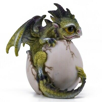 "Green Baby Dragon Hatching From Egg Figurine Statue 4.25""H Resin New In Box!"