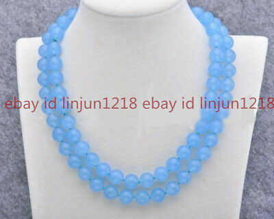 Natural 8mm Blue Chalcedony Gemstone Round Beads Necklace 35 Inch AAA+
