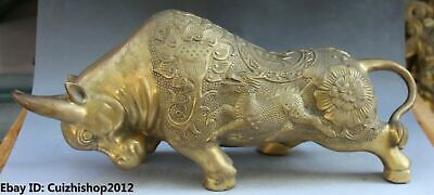 Chinese FengShui Bronze Carving Flower Auspicious Bull Ox Cattle Kylin statues